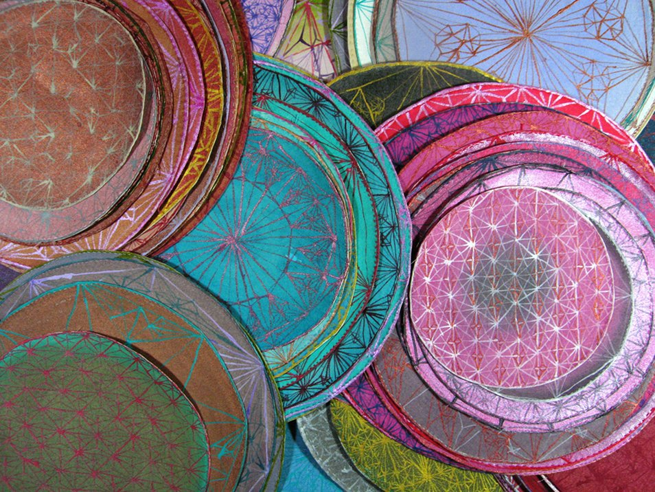 "Claudia Cannizzaro, ""Halos, All of My Saints,"" 2007, Acrylic on Cotton, Dimension Variable, Detail"