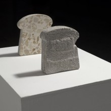 Guy Goldstein, Black & White Bread, 2007, terrazzo tiles, 6 x 5.5 x 1.2 in., unique; $1,000 for set