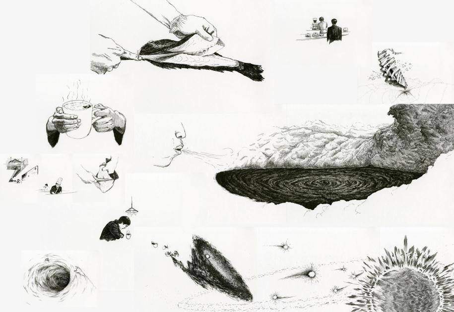 2001 A SPACE COLONY, ink on paper, 2011