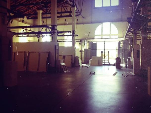 "Setting up the exhibition ""Nessun luogo è lontano"" at the Ex-Slaughterhouse of Padua, 2014"