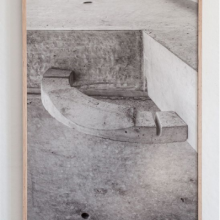 "Carlos Vela-Prado. Untitled (Navel). Archival inkjet print in oak frame. 24"" x 33"". ""Clear North Sky; Dark Skin; Average Weathered Wood"" is a body of work made on Governors Island through LMCC focused on the residue from island landscapes. 2014"