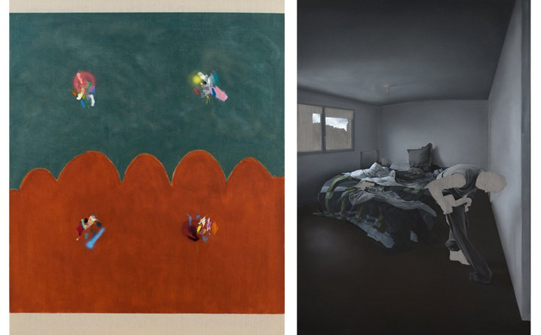 (left) Ana Prata, Above and Below, 2016, oil on canvas, 60 x 48 in. (right) Guillaume Bresson, untitled, 2016, oil and acrylic on canvas, 77 x 50 in.