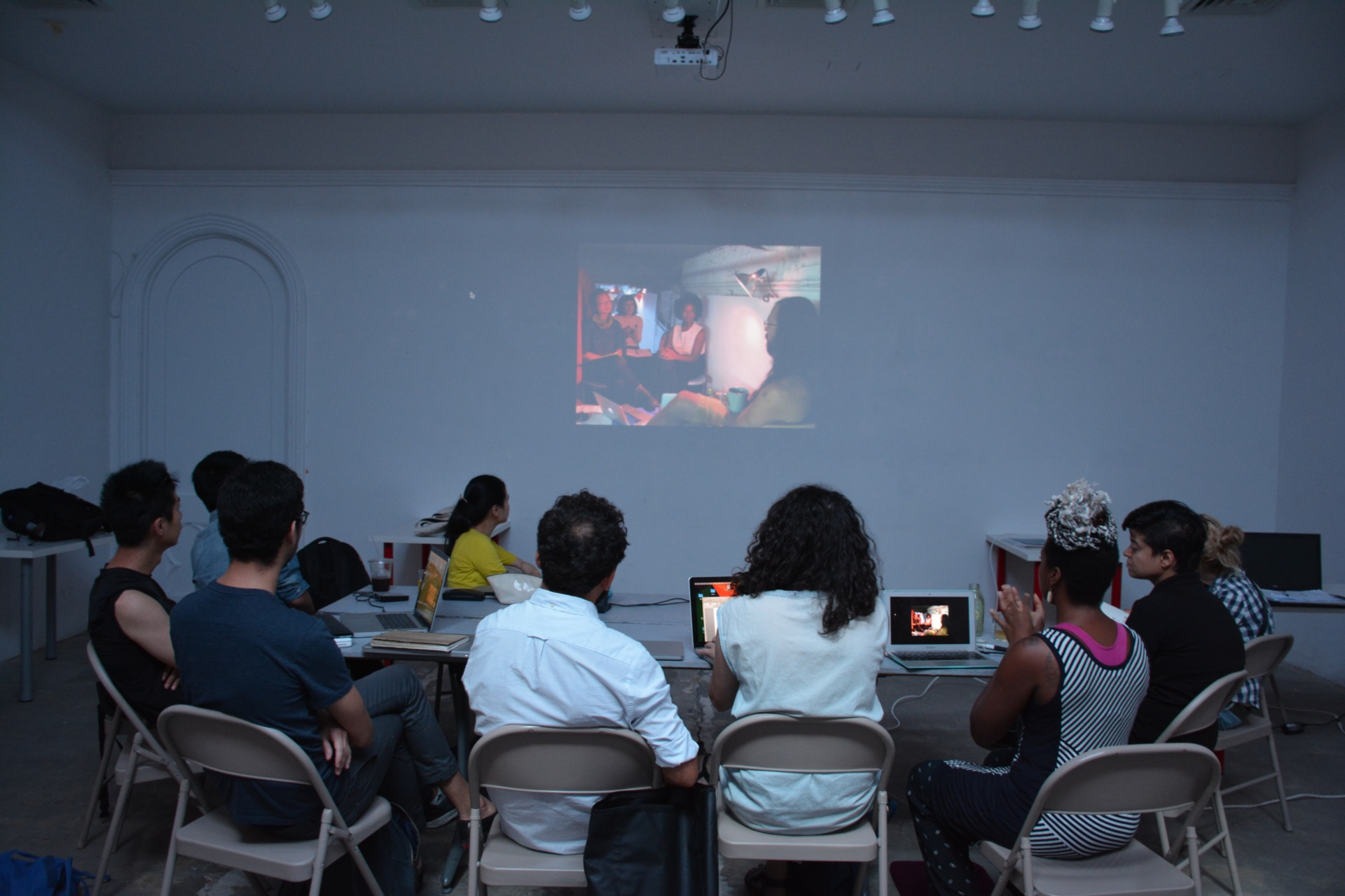 August 2016 Artist Presentations at RU Space with RU new residents. (from left to right: Kai-chun Chiang, Sean Wang, Jorge A. Rodriguez Mazzini, Shurui Li, Özgür Demirci, Nataša Prljević, Anaïs Duplan, Zorica Zafirovska, Nina Komel)
