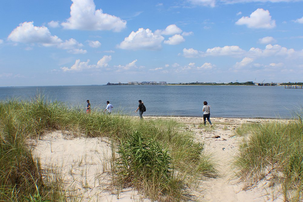 After a winding path we get to one the weirdest beaches in NYC.