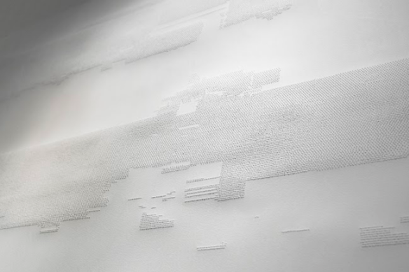 Nina Simonović, 11.52 (detail), Perforated paper, 1.5 x 1.5 m