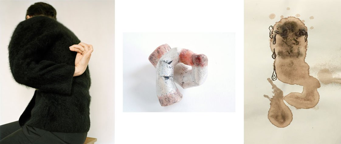 From Left: Ingrid Eggen, Knegang 3, 2015-2016, C-print, 22 1/8 x 27 3/4 inches; Masumi Kataoka, Untitled, 2016, Sterling silver, animal Intestine, and nickel, 2 3/8 x 2 3/8 x 2 3/8 inches; Joseph Whitt, Untitled, 2016, Ink and coffee on paper, 5 1/4 x 3 1/2 inches.