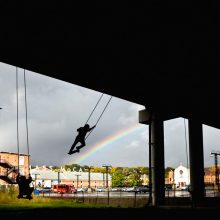 "Jane Philbrick, The Expanded Field: ""Swings,"" Mass MoCA Rt 2 underpass, 2011; Photo: Tony Cenicola"
