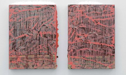 55 x 40 - Untitled #02-1, #02-2, Gouache on mulberry paper mounted on canvas, 2015. Courtesy of the artist.