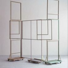 Jeong 井, Assembled units, painted steel, wood frame, 2014-2015.  Courtesy of the artist