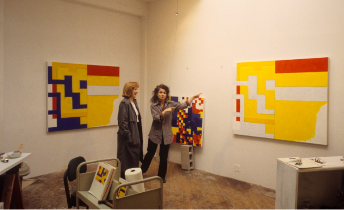ISCP resident, Marjorie Wlish (right), in her studio with guest critic, Jane Farver (left), ISCP, 1995