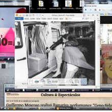 "screen-shot of the researcher's desktop, including (in clockwise, starting from the center): Pepe Espaliú's ""Carrying"", 1992 (San Sebastian, Basque Country). Original photo: Ricardo Iriarte; spontaneous intervention by Aimar Arriola & Camilo Godoy (Queerocracy) holding ACT UP's ""Criminales de SIDA"" poster during a mass at St. Patrick Cathedral, March 21 2014 (poster printed from NYPL's Digital Gallery); newspaper clipping covering Chilean artist Guillermo Moscoso's action ""Geno-Sida"", 2009; research image, Visual AIDS, March 2014; detail of ACT UP's poster ""Silencio = Muerte"" poster [Verso: 30 gays arrested each night in Buenos Aires. Shame!] NYPL Digital Gallery. Image recently shown in the ""Presente!"" panel-series organized by Julian De Mayo, NYPL."