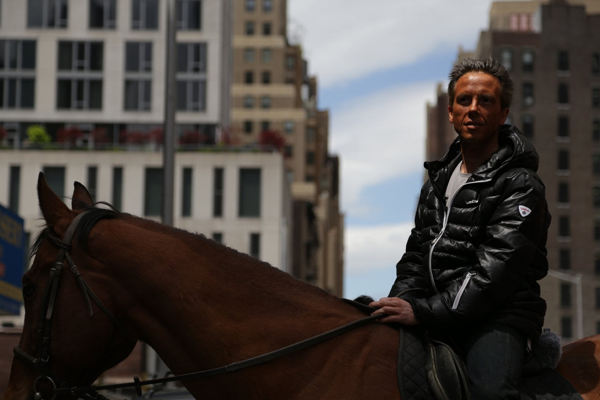 Thierry Costeseque on horseback, Broadway and 30th in Manhattan.