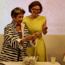 Joyce Pomeroy Schwartz picks the winning ticket with Nathalie Angles, RU Executive Director.