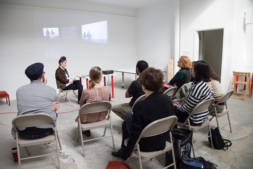 Jacynthe Carrière, RU artist, in discussion with other residents