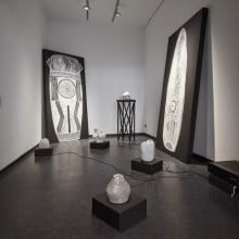 Beating Back Darkness, 2014, Installation view amplifier, sound vessels, chalk, panels, wood, cables, sound speakers and mix media Dimensions variable  © Michael Belogour
