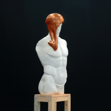 Doryphoros, plaster copy, silly putty and wooden base, 212 x 42 x 30 cm, 2015, installation view, Souvenir at Polansky Gallery, Prague