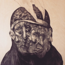 "Pouya Afshar, work in progress, Charcoal on Wood, 30"" by 40"", 2015"