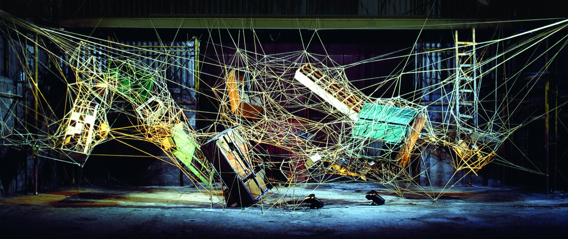 Digestive Tract, 2000. Ropes and objects, 20x8x6m