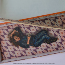 Inside Dimitri's Box, 2015, watercolor on a found cardboard box, 10cm*20cm*2cm
