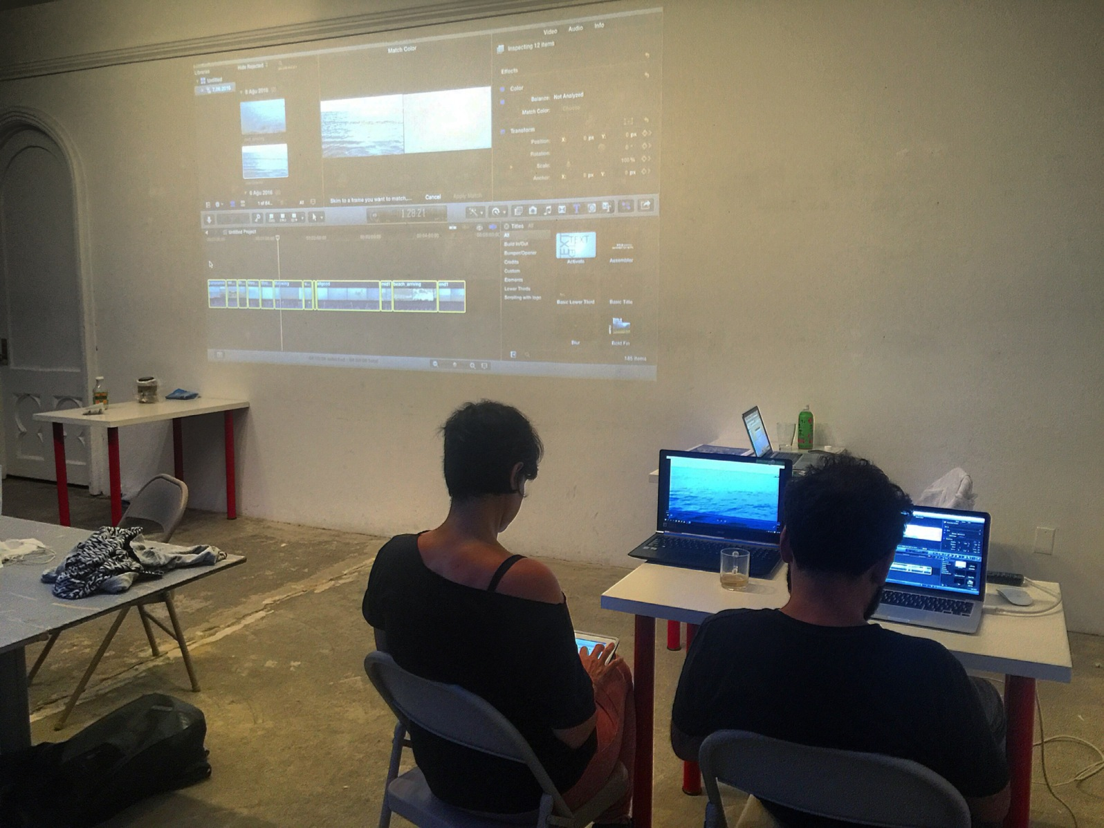 RU Production Support: RU resident artists Zorica Zafirovska and Özgür Demirci working with their video works at the RU Space on August 8, 2016.