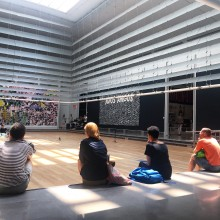 RU residents sitting together watching the Performance at Queens Museum on July 22, 2016. (from left to right: Antoine Turillon, Ingrid Eggen, Natacha Clitandre, Boshko Boskovic, Miri Chais)