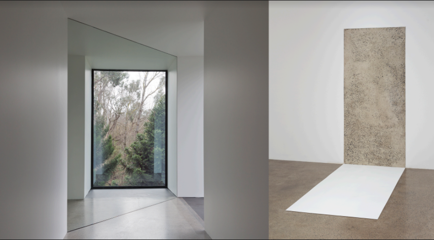 Natasha Johns-Messenger. Left: Echo, 2016. Right: Herethere, 2016. Installation sites: Sightlines, Heide Museum of Modern Art, Melbourne Australia © Natasha Johns-Messenger, 2016 Photo credit: Christian Capurro.