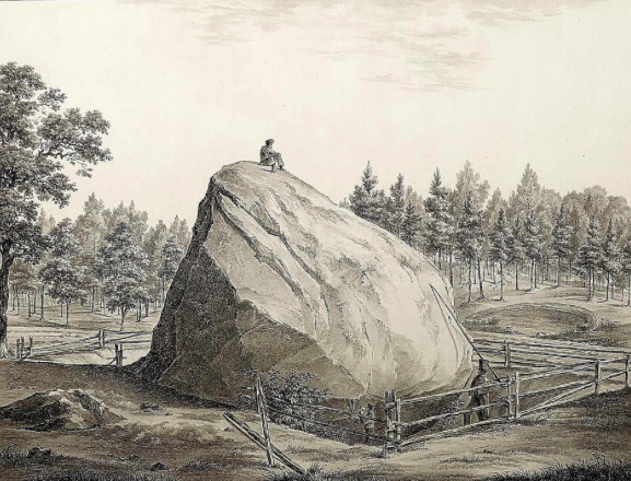 Julius von Schoppe (1795–1868), Illustration of giant stone near the Rauenschen Mountains near Furstenwalde, 1827, Lithograph, von Tempeltey
